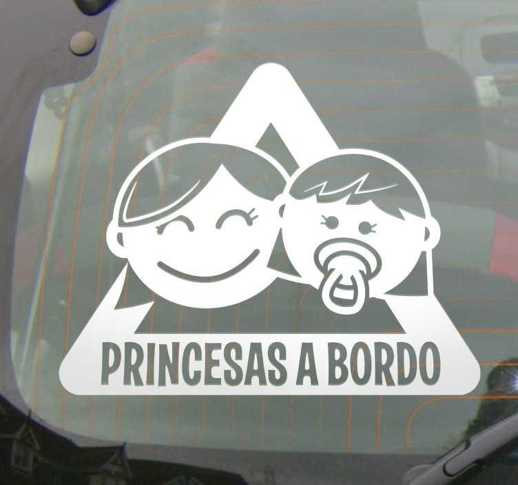 TenVinilo. Pegatinas coche niñas a bordo. Adhesivos para coche tipo a bebé a bordo con el dibujo de una niña grande y otra bebé, una señal de advertencia en pegatina.
