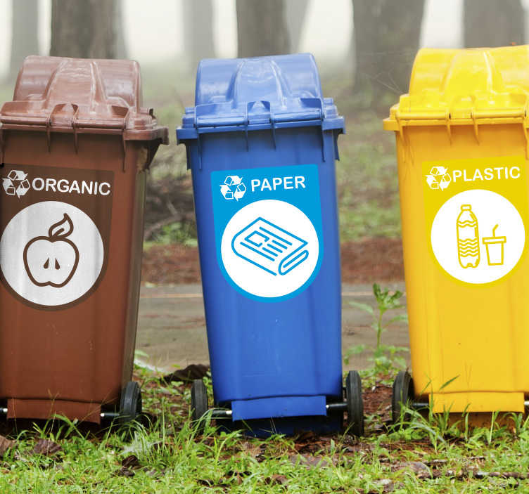 TenStickers. Recycling Label Stickers. A fantastically useful selection of recycling stickers to help make the bins clear! Sign up for 10% off.