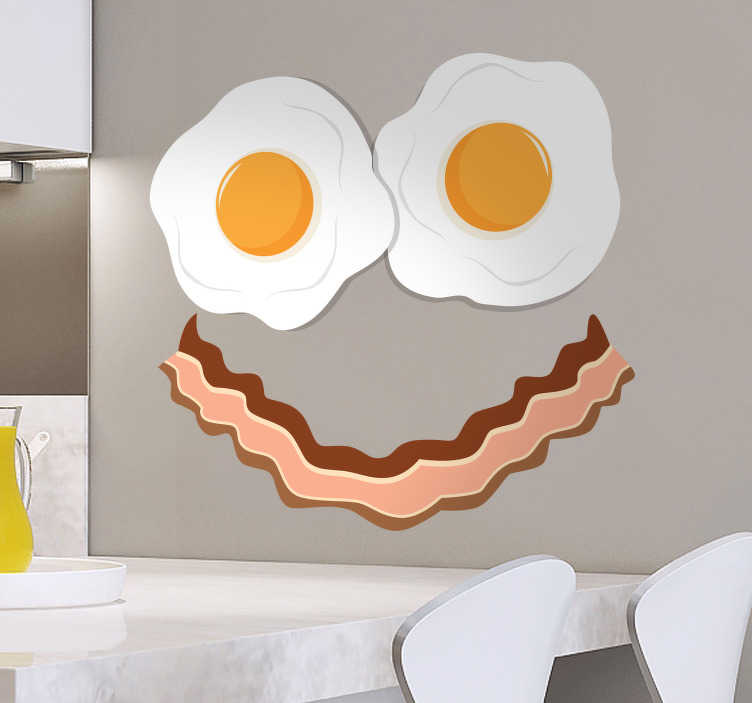 TenStickers. Bacon and Eggs Smile Wall Sticker. Furnish any room in your house with this delicious decal! Choose your size.
