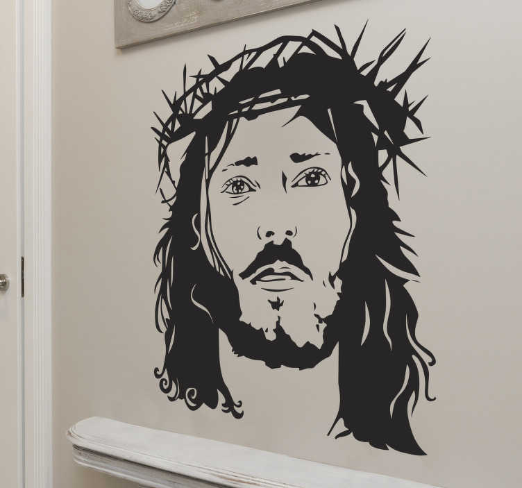 TenStickers. Face of Jesus sticker. The adhesive consists of a drawing of the face of Jesus.  This adhesive is perfect for all the religious people or churches that need some fitting decoration.