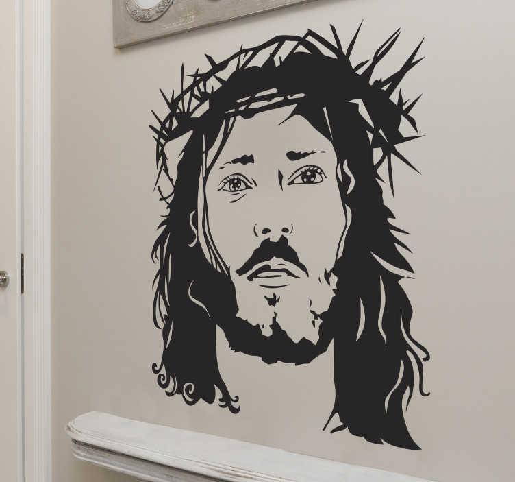 TenStickers. Wandtattoo Porträt Jesus Christus. Das schöne Wandtattoo zeigt ein Porträt von Jesus Christus mit Dornenkrone. Dieses Jesus Wandtattoo eignet sich insbesondere für Gemeinschaftsräume von Kirchenoder für das Zuhause.