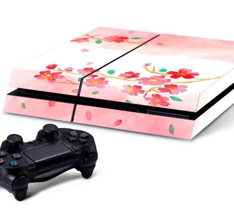 TenStickers. Sticker Ps4 fleurs de cerisier. Un autocollant pour console qui fera souffler un air du Japon sur votre Ps4! Ce sticker rose avec des branches de fleurs de cerisiers et ses pétales au vent apportera un peu de fraîcheur au design noir et sobre d'origine.