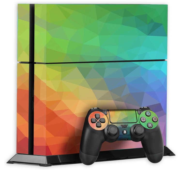 TenStickers. Polygonaler Regenbogen Aufkleber für die Ps4. Mit diesem originellen Regenbogen Aufkleber für die Ps4 sorgen Sie für einen einzigartigen Look. Personalisieren Sie Ihre PlayStation 4 mit einem polygonalen Regenbogen Sticker.