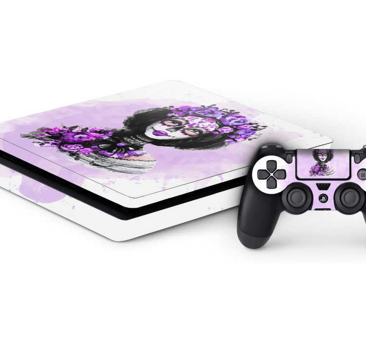 TenStickers. Dag van de doden Playstation sticker. Decoreer de Playstation origineel en leuke met deze playstation sticker. De skin bestaat uit een bekend gezicht van de dag van de doden met daarbij paarse kleur effecten.
