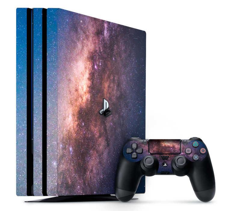 TenStickers. PS4 sticker galaxy. Maak iedere dag een ruimtereis met deze galaxy PS4 skin. Deze sticker bestaat uit een beeld van de ruimte met roze en paarse accenten.