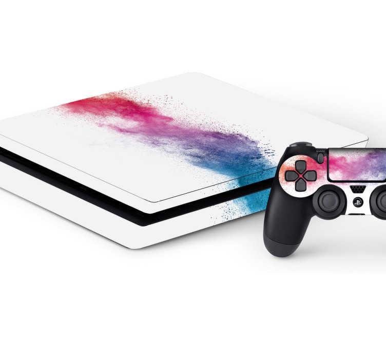 TenStickers. Splatter PS4 skin. Decoreer jouw PS4 met deze originele en kleurrijke skin. De sticker bestaat uit een splatter effect midden op de Playstation met een witte achtergrond.