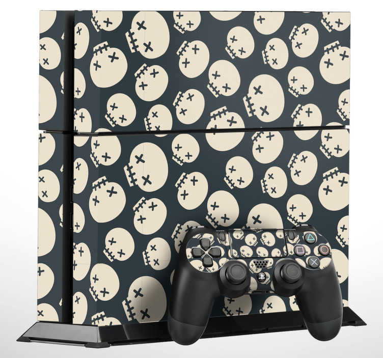 TenStickers. Skulls PS4 Skin. Personalise your PS4 with this awesome skull pattern showing multiple cartoon skulls arranged in a cool pattern. Give a personal look to your PlayStation console and controller with these PS4 stickers, from our collection of Halloween stickers.