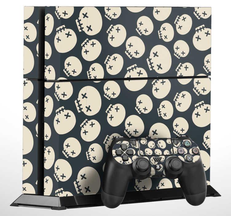 TenVinilo. Pegatina para PS4 patrón de calaveras. Original pegatina adhesiva para PS4 y controladores con el diseño de unas terroríficas calaveras sobre fondo negro. +50 Colores Disponibles.