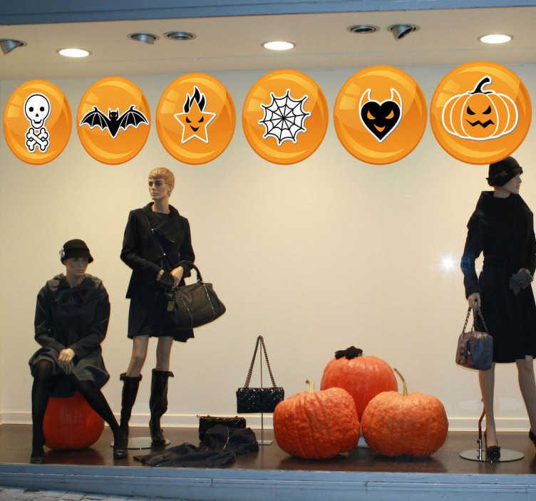 TenStickers. Sticker pictogrammes halloween. Sticker représentant différents pictogrammes faisant référence à la fête d'Halloween. Adhésif applicable sur les murs ou vitrines de magasins.