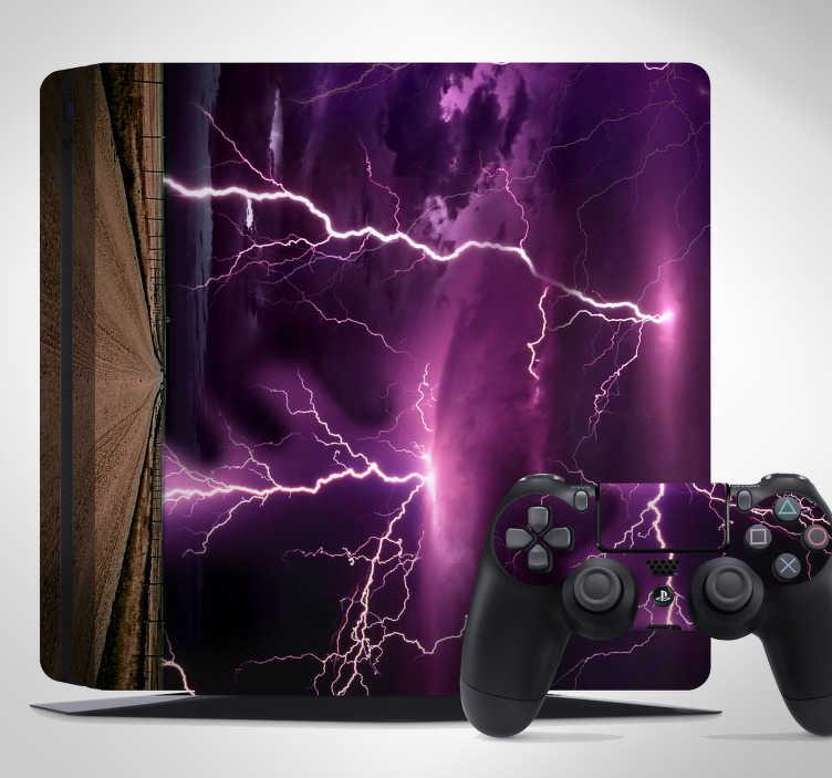 TenVinilo. Vinilo para PS4 tormenta rayos. Pegatinas PlayStation con una representación de unas espectacular fotografía de un paisaje de tormenta.