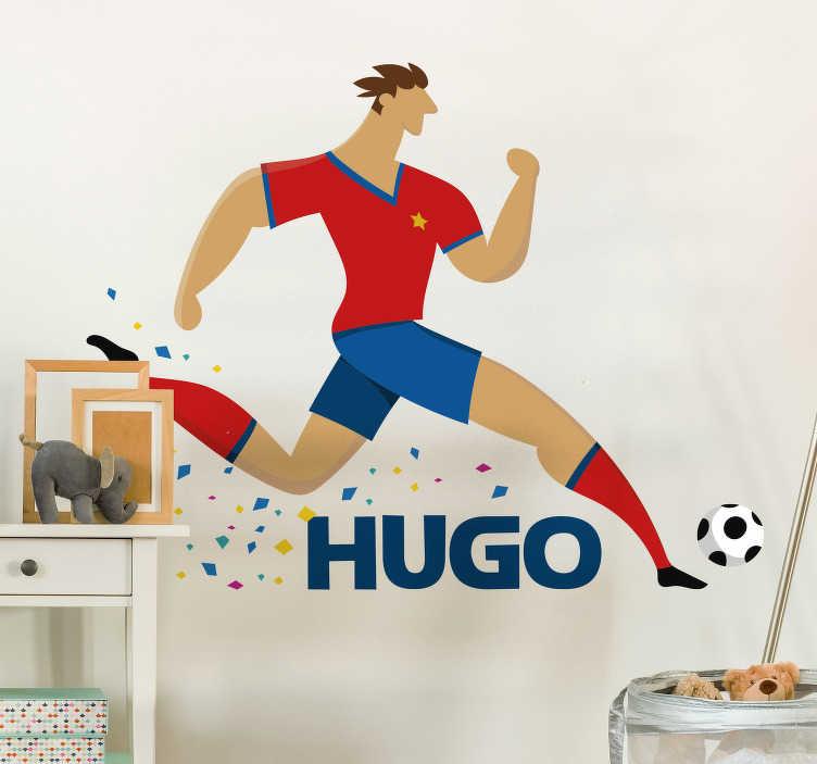 TenStickers. Naklejka ścienna mistrz świata w piłce nożnej. Piłka nożna naklejka ścienna dla dzieci z rysunkiem biegnącego piłkarza, który można spersonalizować nazwiskiem twojego dziecka. Daj swojemu fanowi piłki nożnej specjalny upominek z indywidualną naklejką mistrza świata w piłce nożnej.