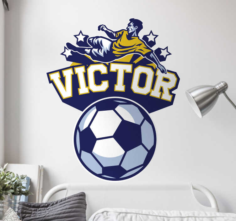 TenStickers. Football Customisable Sticker. Add a personalised touch to your child´s bedroom with this fantastic customisable wall sticker! +10,000 satisfied customers.