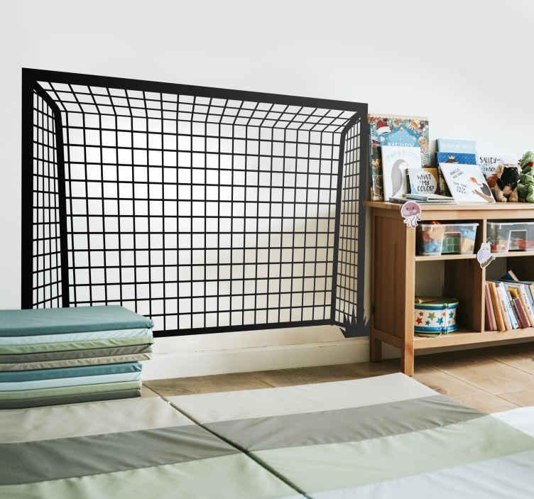 TenStickers. Kinderkamer muursticker voetbaldoel. Een handige muursticker voor de voetballiefhebbers. Het ontwerp omvat de omlijning van een voetbal doel. Afmetingen aanpasbaar. Express verzending 24/48h.
