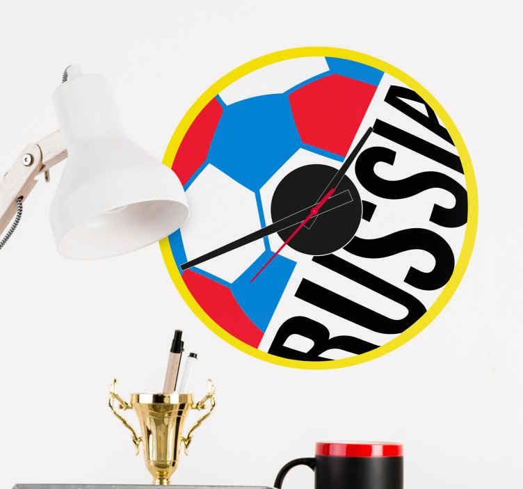 TenVinilo. Vinilo reloj copa del mundo. Reloj decorativo pared con la figura de un balón con los colores de la bandera rusa, para aficionados al fútbol Vinilos copa del mundo Rusia 2018