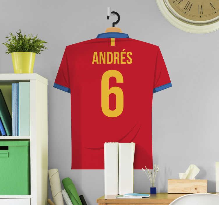 TenVinilo. Vinilo Selección Española camiseta personalizada. Pegatinas personalizadas nombre con el dibujo del dorsal de la camiseta de la selección española, puedes introducir el nombre y el número que quieras.