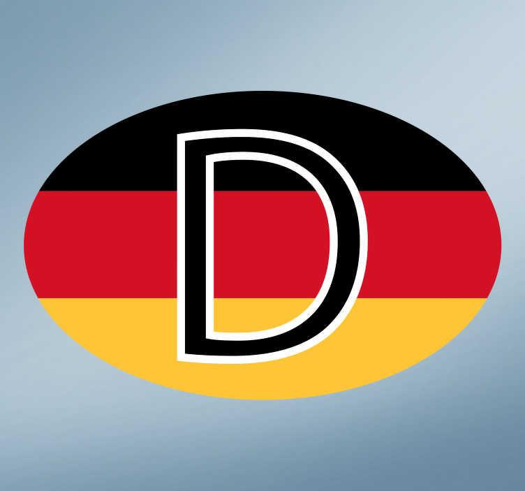 """TenStickers. Länderkennzeichen Aufkleber """"D"""" Deutschland. Verzieren Sie Ihr Fahrzeug mit einem Länderkennzeichen Aufkleber Deutschlands """"D"""", das in den deutschen Nationalfarben schwarz rot gold dargestellt wird. Der Fahrzeug Aufkleber eignet sich zur Anbringung an Ihrem Auto, Motorrad, LKW und allen anderen Fahrzeugen."""