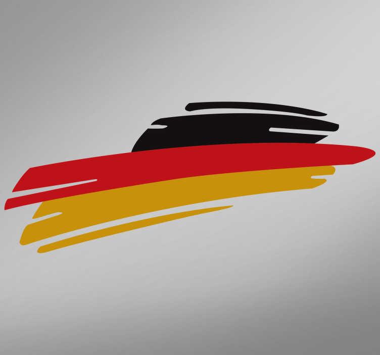 TenStickers. Autoaufkleber Deutschland Flagge. Dekorieren Sie Ihr Fahrzeug mit einem fantastischen Aufkleber der Deutschland Flagge. Der Autoaufkleber in schwarz rot gold besticht durch ein kreatives und modernes Design der Deutschland Fahne und verleiht Ihrem Auto einen einzigartigen Look