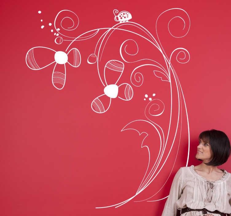 TenStickers. Sticker autocollant fleurs coccinelle. Stickers représentant une branche d'arbre avec des fleurs en forme de coeur.Idée déco originale pour votre intérieur.