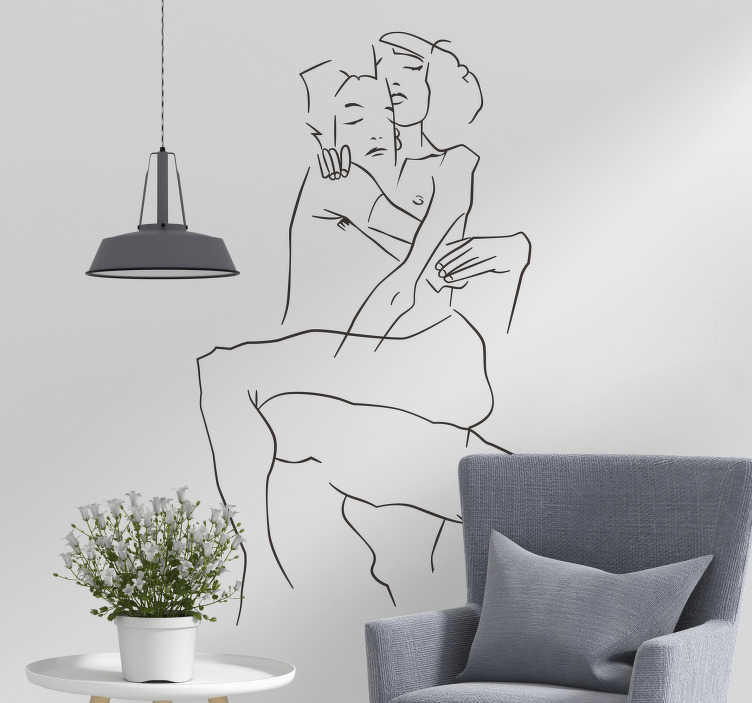 TenStickers. Hugging couple love wall sticker. Decorate your walls in an artistic way with this line sticker showing a couple in the hug of love. This drawing decal is available in over 50 colours!