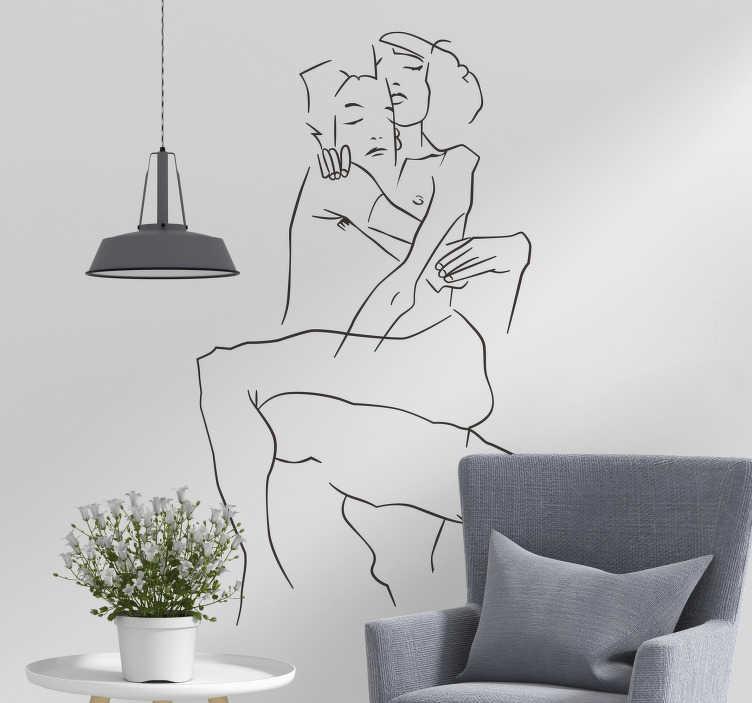TenVinilo. Vinilo decorativo pareja lineas. Reproducción de un dibujo de Egon Schiele en vinilo mural de un chico y una chica abrazados desnudos.