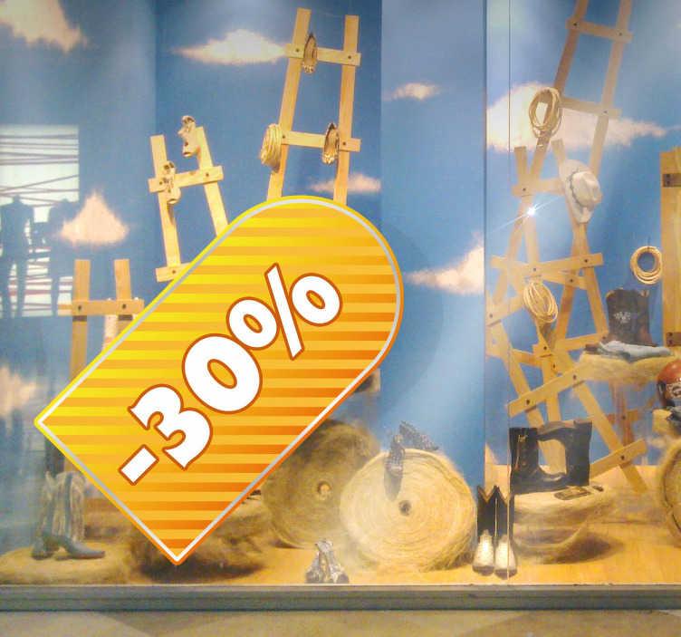 TenStickers. Sticker étiquette jaune rayée. Décorez votre vitrine avec ce sticker original jaune vif et attirez l'attention de vos clients. Idéal pour décorer votre boutique.