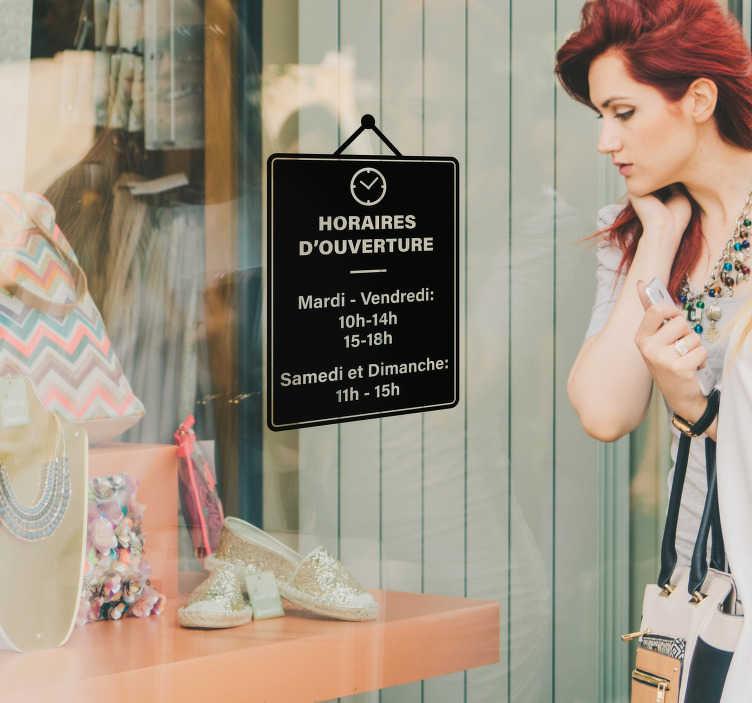 TenStickers. Sticker horaires magasin personnalisé. Sticker pour entreprise vous permettant d'afficher les différents horaires de votre magasin sur votre vitrine. Un autocollant très pratique.