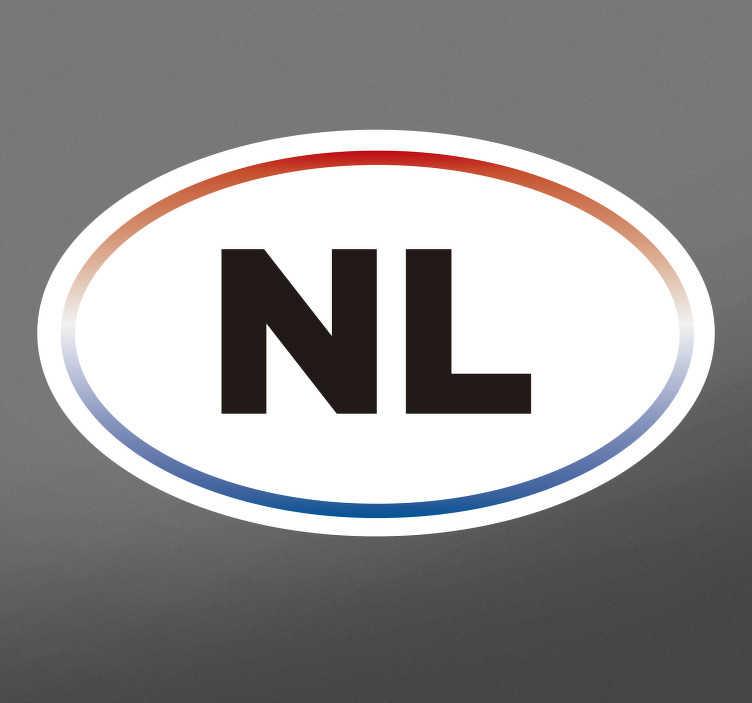 TenStickers. Autosticker NL rondjes vorm. Decoreer de auto met een echt Nederlands tintje met deze autosticker. Dit design bestaat uit een ovaalvormig wit oppervlak met daarin de letters NL.