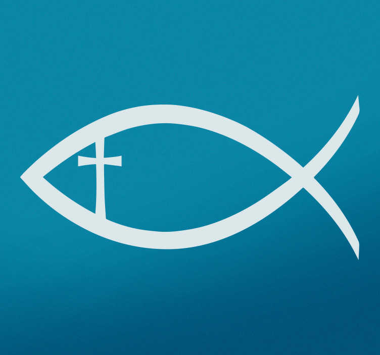 """""""Tenstickers"""". Krikščioniškos žuvies sienos lipdukas. Pridėkite prie bet kurios savo namų dalies religiškai įkvėptą lipduką su šiuo fantastišku žuvies tematikos sieniniu lipduku! Galimos nuolaidos."""