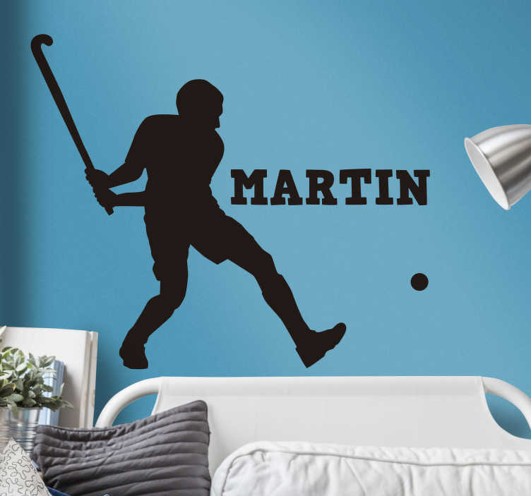 TenStickers. Customizable hockey player wall decal. Personalisable hockey sport player wall sticker. Buy it with the name customisation of choice. Easy to apply and adhesive.