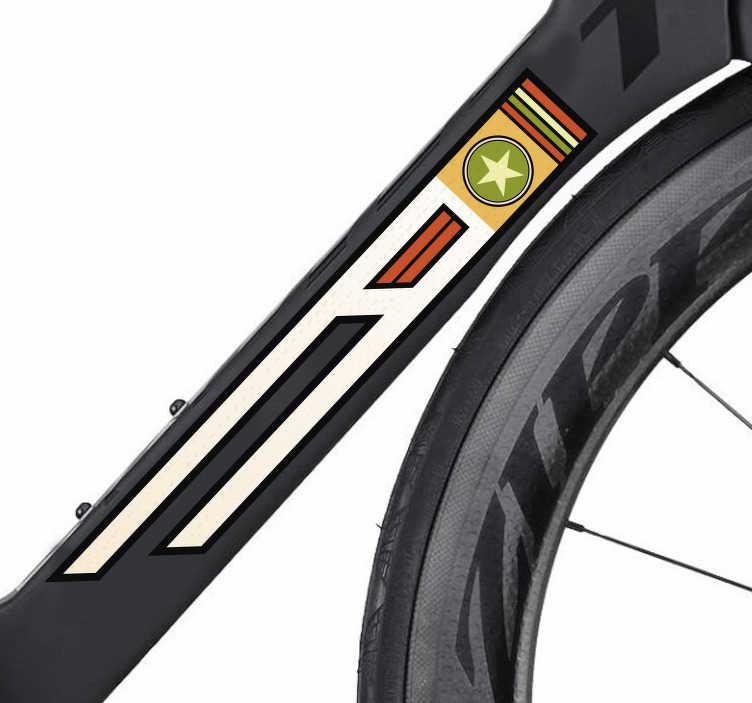 TenStickers. Autocolante para bicicleta retro. Decore a tua bicicleta com este autocolante decorativo para bicicleta com um símbolo retro para ao menos preencher a sua ''bebé'' com algo.