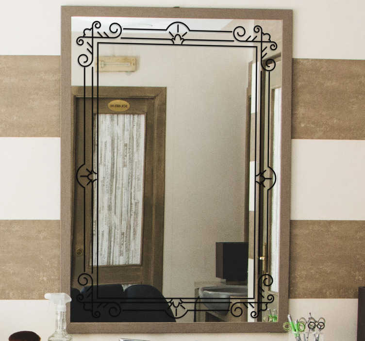 TenStickers. Sticker miroir cadre symétrique. Sticker élégant qui donnera un aspect art nouveau raffiné à votre miroir. Disponible dans plus de 40 couleurs et dans les dimensions que vous désirez.