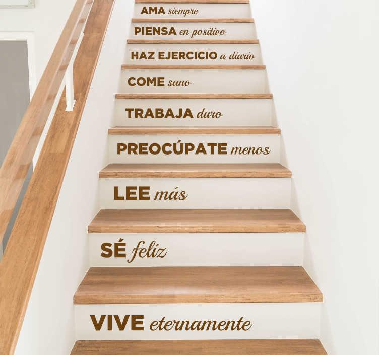 TenVinilo. Vinilo para escalera en esta casa. Vinilos para decoración de escalones con una serie de frases positivas, un decálogo de normas para seguir en tu hogar.