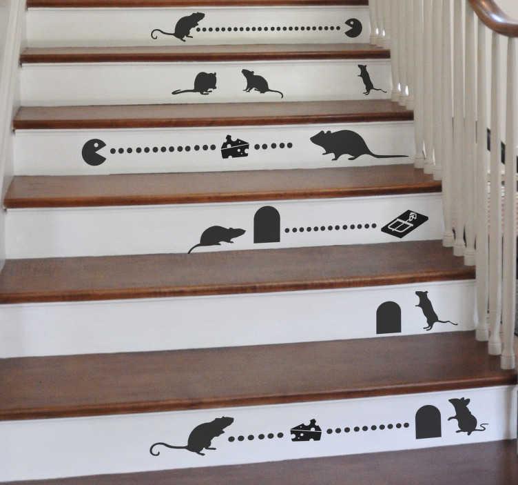 TenStickers. Naklejka na ścianę ilustracja myszki. Winyl na schody, ściany lub meble, przedstawiający myszki, pułapki na myszki i sery. Całość przypominająca słynną grę PacMan. Idealna naklejka, aby zmienić wygląd pomieszczenia na całkowicie wyjątkowy!