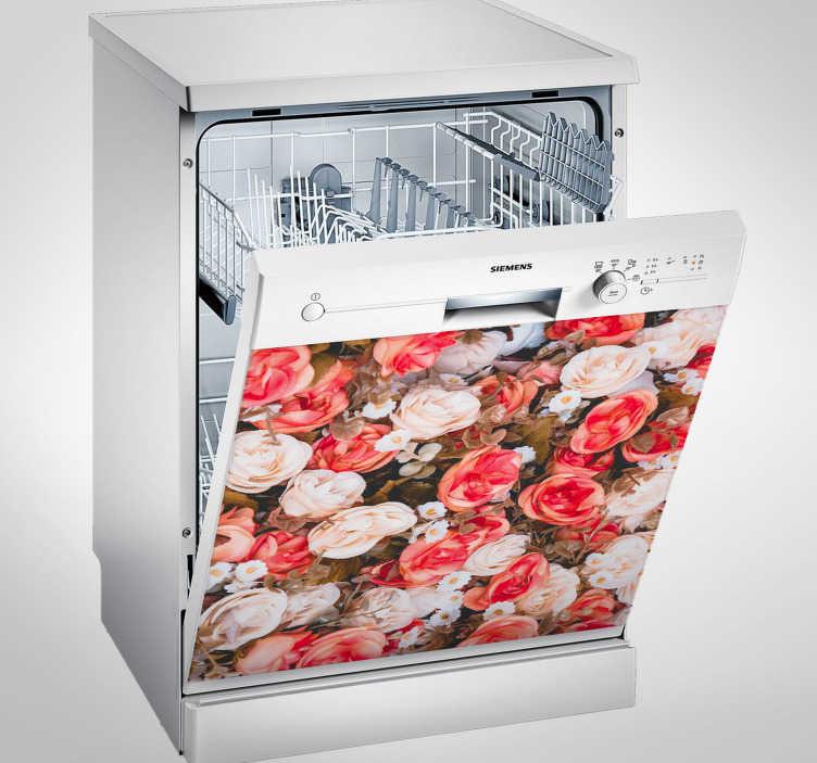 TenStickers. Waschmaschinen Aufkleber Blumen. Einfach anzubringender Aufkleber im romantischen Blumenprint, welcher Ihrer Küche den gewissen Charme verleiht.