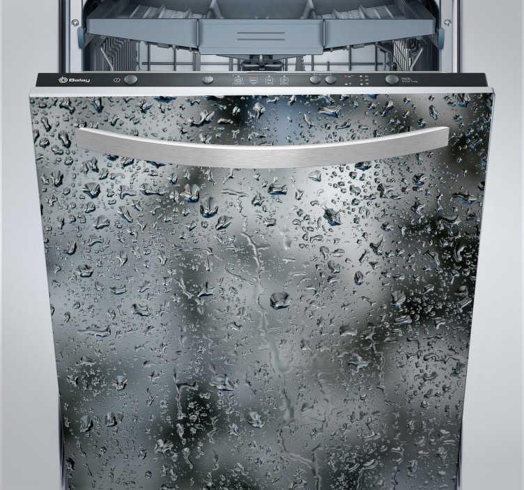 TenStickers. Naklejka na zmywarkę z motywem kropli wody. Naklejka na urządzenia gospodarcze z efektem kropli wody na szkle. Ta wyjątkowa ozdoba nada Twojej kuchni całkowicie oryginalnego stylu!