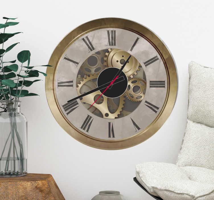 TenVinilo. Vinilo reloj orsay. Adhesivos steampunk con el dibujo de un reloj clásico en la que se ven los mecanismos y engranajes.