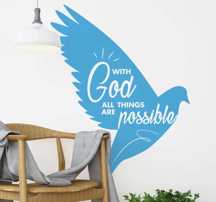 TenStickers. Vse stvari so možne dekor stene. Z bogom vse mogoče, je ta motivacijska stenska nalepka kot nalašč za katero koli sobo v vaši hiši ali pisarni, da vas navdihne vsak dan!