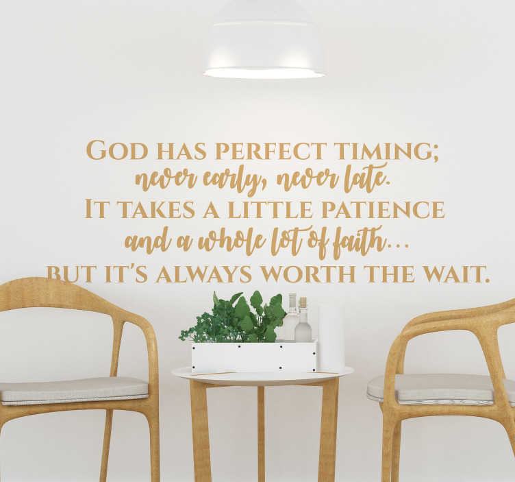 TenStickers. God Has Perfect Timing Living Room Wall Decal. A fantastic religious wall sticker, perfect for any part of your home! Easy to apply.
