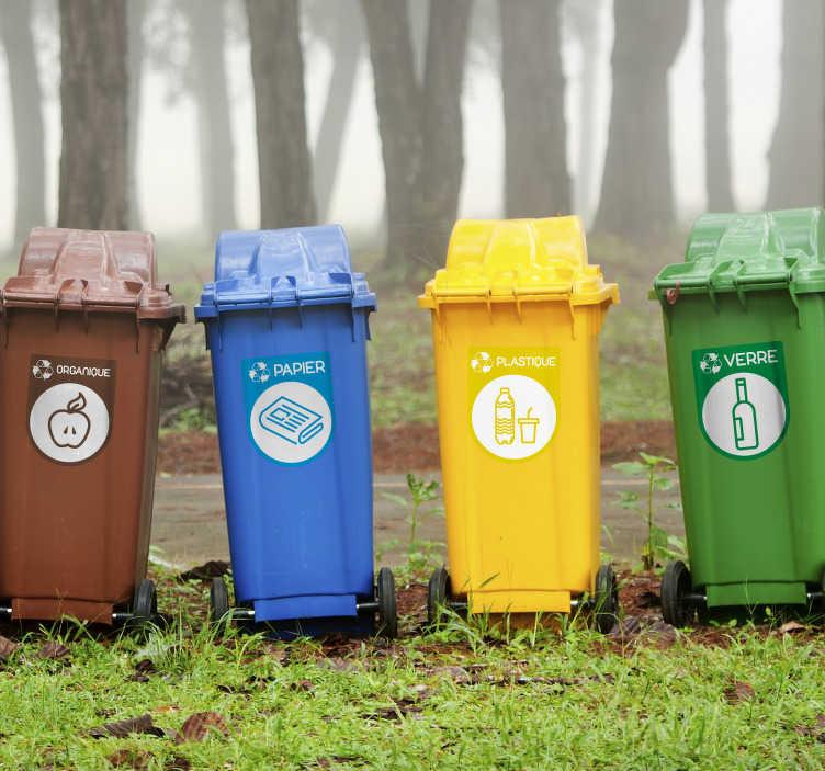 TenStickers. Autocollant Pictogramme Icônes Recyclage. Vous avez décidé de vous mettre au tri sélectif afin de sauver la planète ? Laissez-nous vous y aider avec ce sticker pictogramme.
