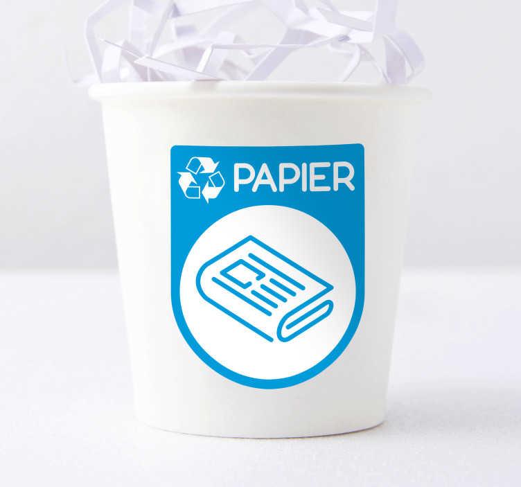 TenStickers. Autocollant Pictogramme Recyclage Papier. Et si on commençait à sauver la planète ? Recyclez votre papier grâce à cet autocollant pictogramme ! Application Facile.