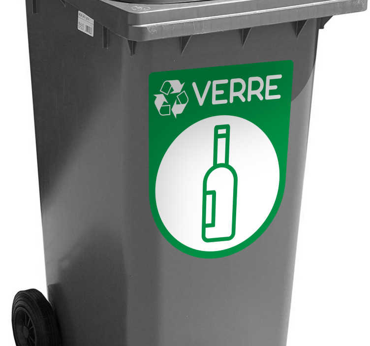 TenStickers. Autocollant Pictogramme Recyclage Verre. Pour pouvoir commencer sainement ses bonnes résolutions et commencer à sauver la planète, rien de mieux que ce sticker pictogramme !
