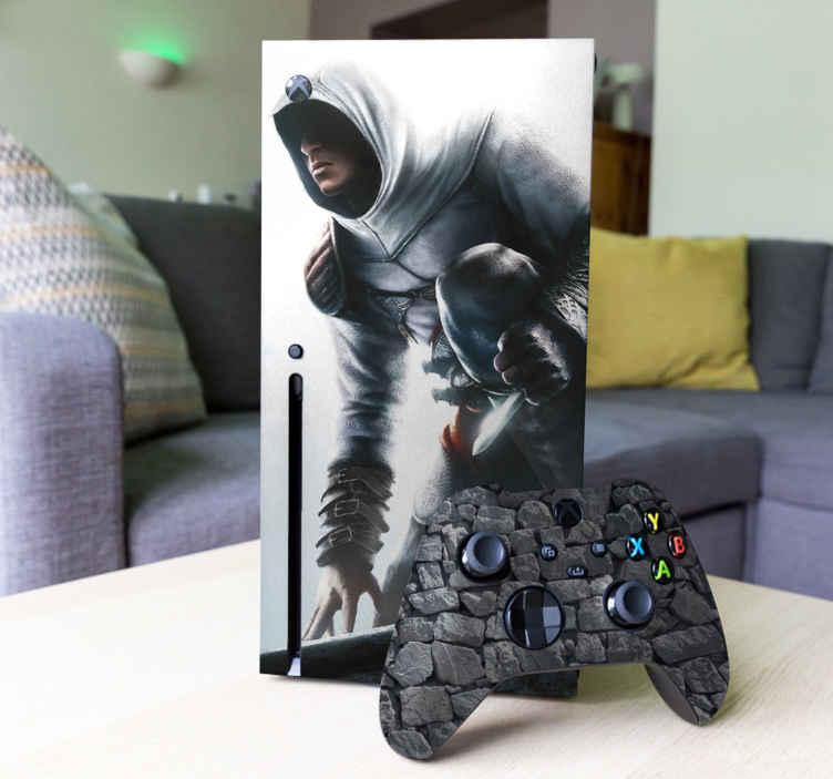 TenStickers. Sticker Xbox One Assasins Creed. Sticker pour Xbox One et Xbox One S sur le thème du jeu vidéo Assassins Creed. Si vous souhaitez changer l'aspect de votre Xbox de façon rapide et originale alors notre sticker est fait pour vous! Ce sticker représentant le protagoniste du jeu vous permettra de décorer votre console avec style.