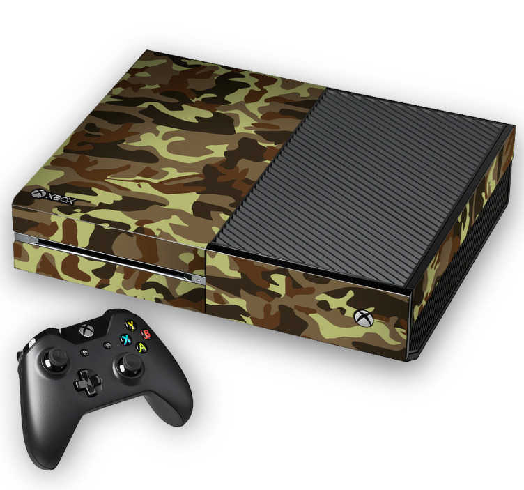 TenStickers. Xbox Aufkleber Camouflage. Dieser coole Xbox Sticker verleiht Ihrer Spielekonsole einen ganz besonderen Look,  mit welchem das Spielen doch gleich viel mehr Spaß macht. Perfekt geeignet für eine schwarze XBox und spiegelt die strategischen und abenteurlichen Spiele wieder, welche Sie damit spielen.
