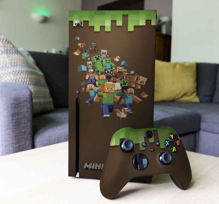 TenVinilo. Pegatina XBox Minecraft. Vinilos decorativos para consolas, skin adhesiva Xbox con el videojuego favorito de los más pequeños de casa.