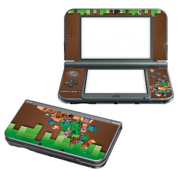 TenStickers. Skin para Nintendo estilo Minecraft. Dê uma decoração à sua consola, agora com estaskin para Nintendocom as imagens do jogo muito famoso da Minecraft.