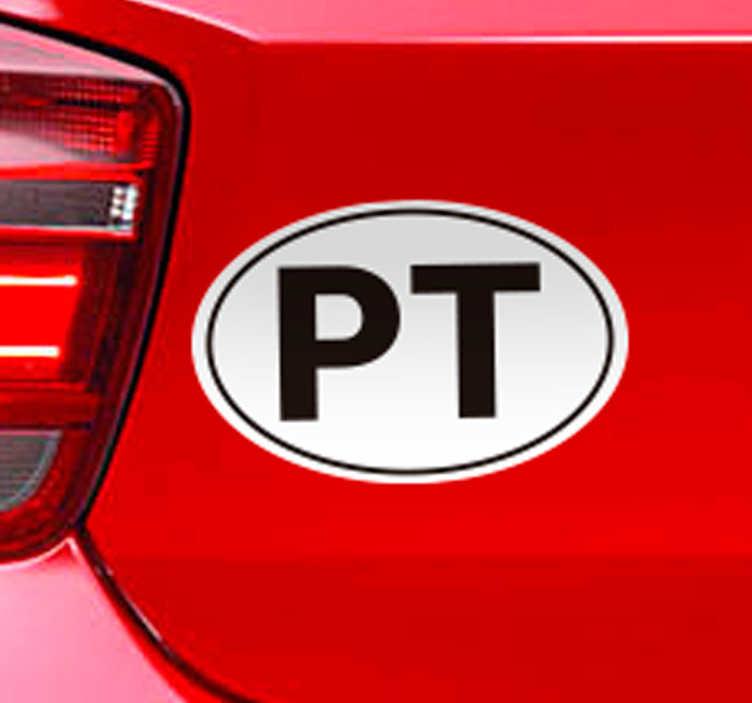TenStickers. Autocolante para carro PT. Preencha o seu carro com vinis de qualidade, temos uma sugestão para você com este autocolante para carro com as iniciais de Portugal.