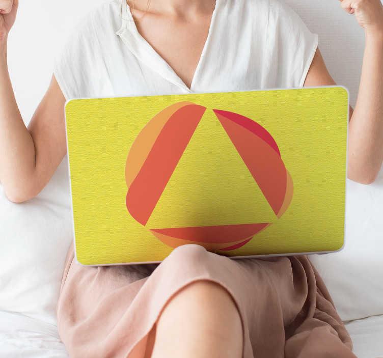 TenVinilo. Adhesivo para portátil abstracto. Skin adhesiva para ordenadores con un dibujo en tonos cálidos, fondo amarillo y dibujo que juega con formas circulares y triangulares.
