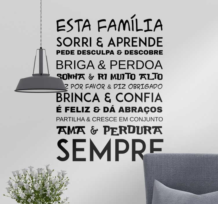 TenStickers. Vinil parede texto de Família. Decore as paredes de sua casa com este vinil autocolante com as regras do que é ser família, que tantas vezes é esquecido nos dias de hoje.