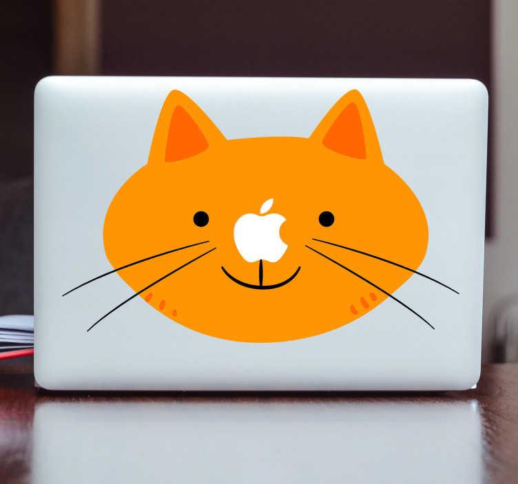 TenVinilo. Vinilo para Mac cara de gato. Pegatinas MacBook con un divertido dibujo del rostro de un felino amarillo, la nariz la ocuparía el dibujo de la manzana de tu dispositivo Apple.