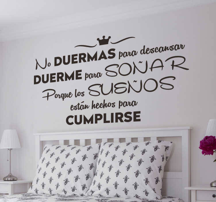 TenStickers. Sleep to dream motivational sticker. Motivational text wall decal for home decoration. A designed text quote about sleeping.. It is available in different colours and size options.